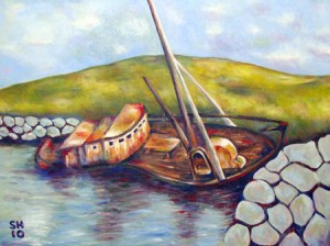 Painting in acrylics of an old boat in Dingle Harbour, County Kerry