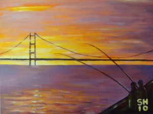 Sunset over the Humber Bridge – painting in acrylics