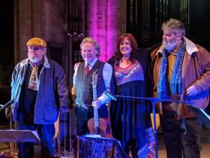 Recording session for 12 Silk 12 Silk Handkerchiefs at Hull Minster, November 2018, with Mick McGarry, Reg Meuross and Brian Lavery